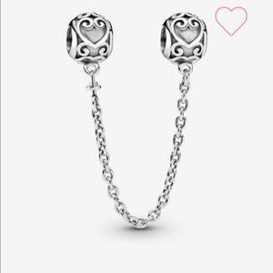 Pandora Ornate Hearts Safety Chain Charm